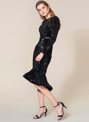 Agenda Kadife Eteği Volanlı Payetli Elbise Siyah
